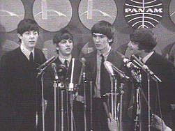 The Beatles at their first press conference at the New York City airport